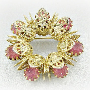 Vintage Pink Rhinestone Brooch Pin, Gold Filigree Brooch, Wreath Brooch, Eternity Circle Brooch, 1950s Antique Costume Jewelry