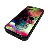 Apple iPhone 5 or 5S Case Cover Skin Hipster Nebula Space Skull DESIGN BLACK RUBBER SILICONE Teen Gift Vintage Hipster Fashion Design Art Print Cell Phone Accessories