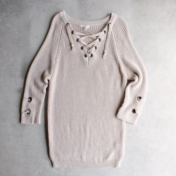 lace up grommet sweater - blush