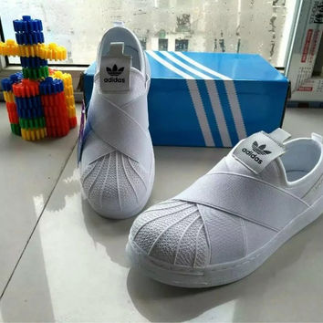"""""""Adidas"""" Fashion Casual Crisscross Bandage Cloth Stitching Shell Head Sneakers Women Canvas Plate Shoes"""