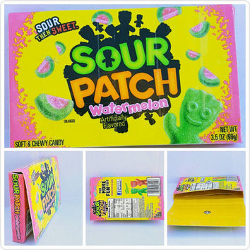 Upcycled - Watermelon Sour Patch Kids - Candy Box - Wallet - Pouch - Cell Phone Holder