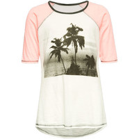 Full Tilt Tropical Palm Girls Raglan Tee White/Pink  In Sizes
