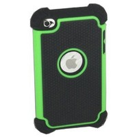 ASleek Hybrid Green & Black Armor Case Cover for Apple iPod Touch 4th Generation 4G