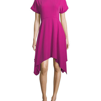 Kenzo Jewel-Neck Short-Sleeve Crepe Dress w/ Handkerchief Hem