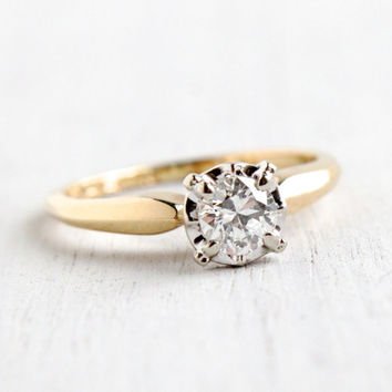 Vintage 14k Yellow & White Gold 1/3 Carat Diamond Ring - Size 5 1/2 Solitaire 1950s 1960s Engagement Jewelry