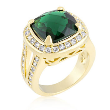 Cushion Cut Emerald Green Cocktail Ring