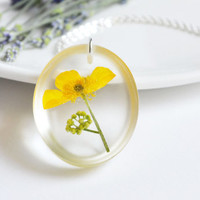 Pressed Flower Necklace Resin Flower Pendant by LOVEnLAVISH