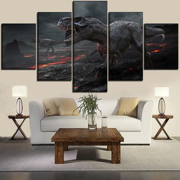 5 Panels Volcanic Rock Pictures Top-Rated Canvas Print Dinosaur Painting Wall Art Home Decor Modular Framework Modern Artwork