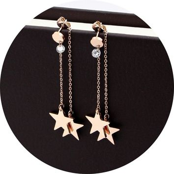 Titanium Steel Rose Gold Plated Shining Lucky Star Tassel Tiny Dot Ear Stud Dangle Earrings