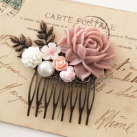 Bridal Hair Comb Pink Wedding Blush Floral White Pearl Leaf Flowers Soft Pink Pastel Color Shabby Chic Romantic Vintage Style Woodland WR