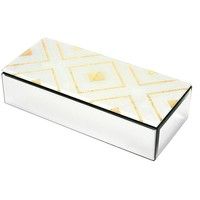 Royal Touch Wood And Glass Storage Box, Silver And Gold