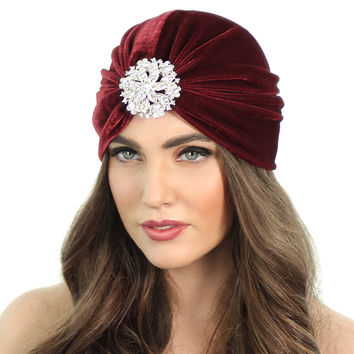 CRYSTAL FLORAL FLAPPER TURBAN