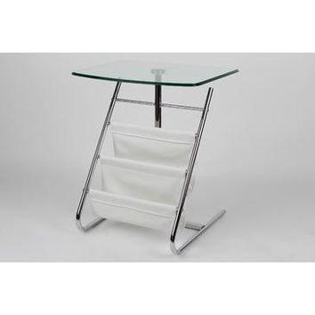 "Whiteline Imports Bob Side Table 7/16"" Tempered Clear Glass Top Faux Leather Magazine Stand Chrome Frame"