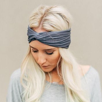 HQ Women's Cotton Turban Twist Knot Head Wrap Girls Cross Headband Twisted Knotted Hairband Candy Color Hair Accessories NXH1878