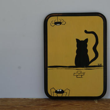Black Cat And Spiders Halloween Decor ~ Hand Painted Wood Plaque With Black Cat And Spiders ~ Halloween Decoration