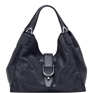 CREYIX5 Gucci Stirrup Black Washed Soft Calf Leather Medium Hobo Bag 296856 1000