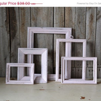 ON SALE Set of 5 Shabby Chic Pink Frames