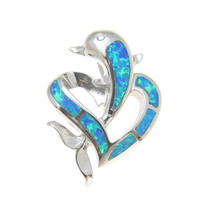 INLAY OPAL HAWAIIAN DOLPHIN IN HEART CZ EYE STERLING SILVER 925 SLIDER PENDANT