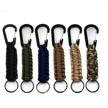 1PC EDC 140kg Tensile Strength Parachute Cord Keychain Military Outdoor Survival Kit Emergency Paracord Rope Carabiner For Keys