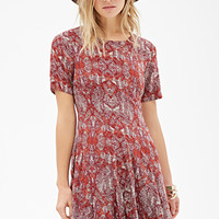 Abstract Print Fluted Dress