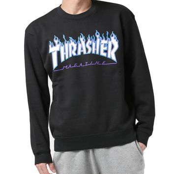 DCCK2 615 THRASHER FLAME 3C Ice-fire flaming velveted round-necked garment Black