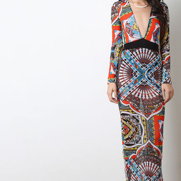 Bold Abstract Print Mesh Long Sleeve Maxi Dress