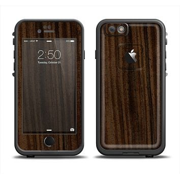 The Black Grained Walnut Wood Apple iPhone 6 LifeProof Fre Case Skin Set
