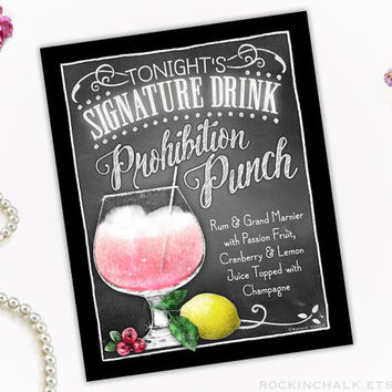 Wedding Decoration | Signature Drink Sign | Personalized, Made to Order Gatsby Deco Wedding Keepsake Gift - Prohibition Punch Cocktail SIgn