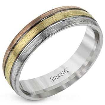 Simon G. Tri-Color Gold Men's Wedding Ring