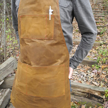 Custom Made Canvas / Leather Apron.  Choose Fabric , Thread , Hardware Colors! Wax / Waxed / Waxing Available! USA Made!
