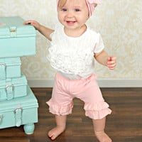 Solid Light Pink Double Ruffle Shorties Shorts - Infant & Baby Sizes!
