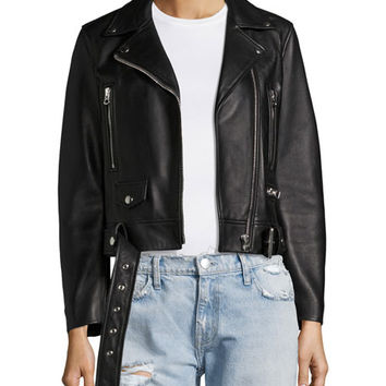Acne Studios Mock Leather Moto Jacket, Black
