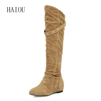 New 2017 Autumn Winter Shoes Fashion Designer Suede Leather Thigh High Boots Chunky High Heels Women Stretch Over The Knee Boots