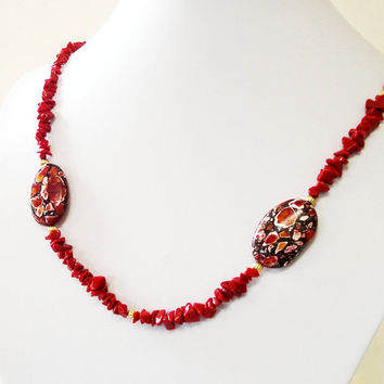 Red Sea Coral Bamboo Chips And Mosaic Jasper Oval Gold Necklace/   Anniversary, Brides Mother, Birthday Gift Ideas