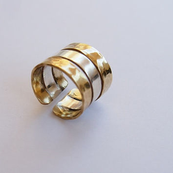 Silver Brass ring, hammered ring band, handmade ring band, hammered jewelry, women's jewelry