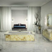 Visionnaire Portorose High End Italian Bathtub in Honey Onyx Marble