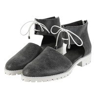 Gray Ankle-Strap Shoes