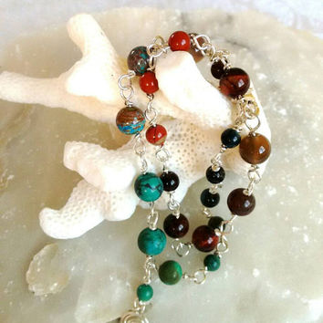 Anklet bracelet - earth colors - Indian colors - terakota Turquoise - natural stones - gift for her -Holidays gift - Free Shipping.