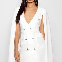 Harper Double Breasted Cape Sleeve Tux Dress | Boohoo