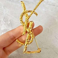 YSL High Quality New Fashion Letter Metal Brooch Women Accessories Golden