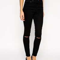 ASOS | ASOS Ridley Skinny Ankle Grazer Jeans in Clean Black with Ripped Knees at ASOS