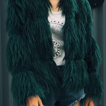 Green Draped Long Sleeve Faux Fur Fashion Coat