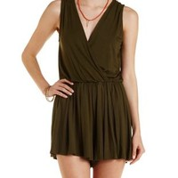 Olive Pleated Sleeveless Wrap Romper by Charlotte Russe