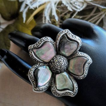Sterling Silver Abalone Shell Marcasite Huge Flower Ring Size 7 1/2