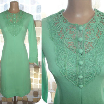 Vintage 60s MOD Crochet Lace Scooter Mini Dress Space Age Mint Green M/L