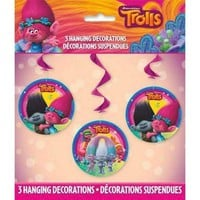Trolls Hanging Swirl Party Decorations [3 per Pack]