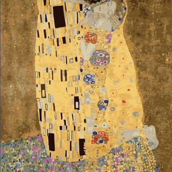 Wall art home decor quadros pictures Pictures painting by numbers DIY Digital Oil Paintings On Canvas Klimt Kiss m322