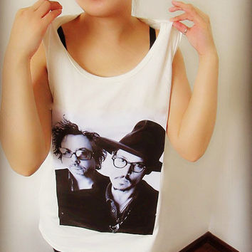 Johnny Depp and Tim Burton Shirt Crop Top Tank Tops T Shirt , Women Sexy Hipster Shirt , Custom Photo Tunic Shirt