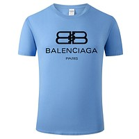 Balenciaga Summer New Fashion Letter Print Women Men Leisure Top T-Shirt Blue