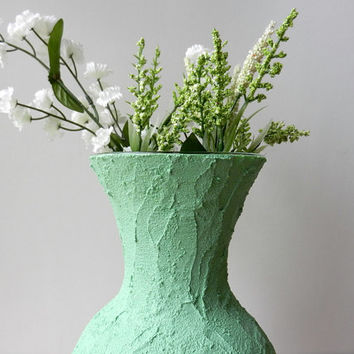 Pistachio green Vase / green home decor / light green flower vase / pastel green / concrete and glass
